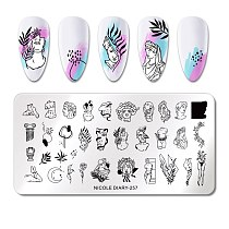 NICOLE DIARY Animal Image Stamp Plates Stripe Grid Mixed Pattern Nail Stamping Templates Stencil Flower  Printing Tool