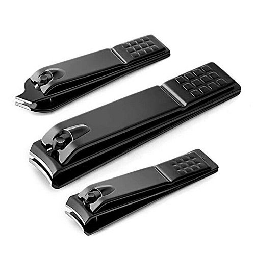 3 Sizes Black Stainless Steel Nail Clipper Cutter Professional Manicure Trimmer Toe Nail Clippers Knife Nail Art Tools Dropship
