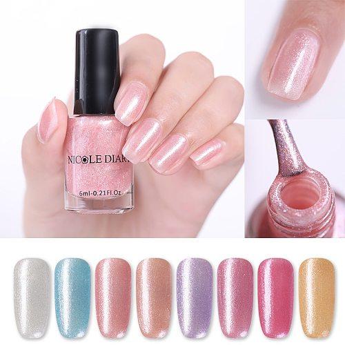 NICOLE DIARY 6ml Shiny Glimmer Pearl Nail Polish Colorful Pink Purple Nail Art Varnish Natural Air Drying Manicures Decoration