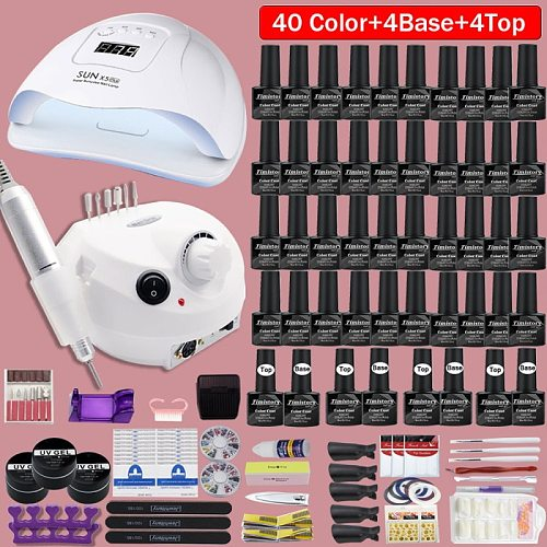 40 Colors Nail Polish super Manicure Set 120/80/54W LED Nail Lamp Nail Set With All Tools Needed For Manicure Electric Nail File