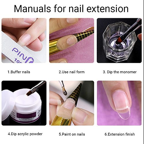 138ml Monomer Acrylic Powder Liquid clear color acrylic nail kit powder and nail liquid art manicure tool for nail extension set