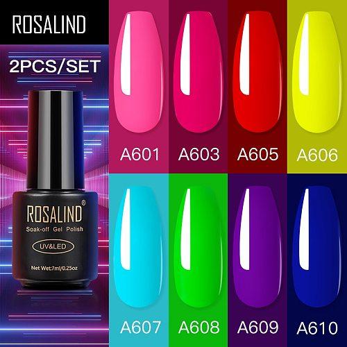 ROSALIND 2PCS/SET Gel Polish Set Hybrid Varnishes Nails Art Semi Permanent Soak Off Nail Polish Gellak Base Top Coat Lacquer Kit