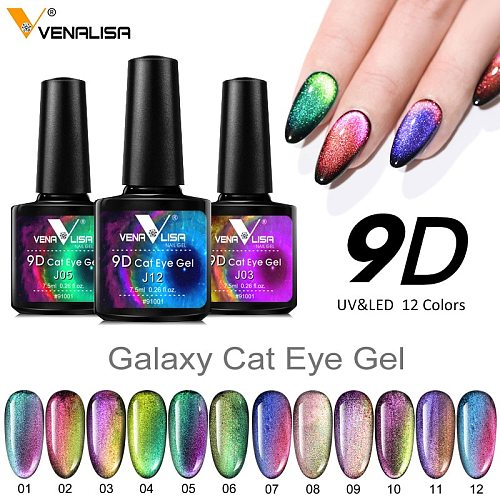 New Nail Art Design Manicure Venalisa Soak Off Enamel 9d Cat Eyes Magnetic Gel Polish UV Gel Nail Polish Lacquer Varnish