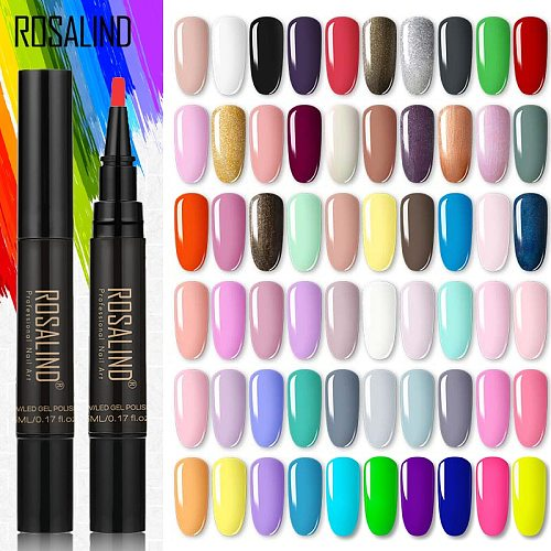 ROSALIND Neon Gel Polish Pen Varnish UV Nail Semi-permanent Base Coat Primer Nail Art Extension UV LED Gel Nail Set for Manicure