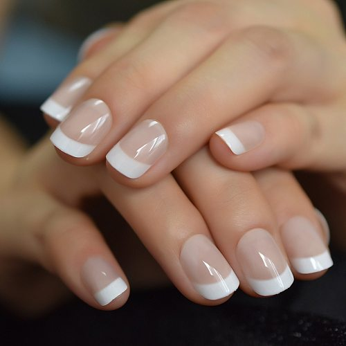 Summer Short Natural Nude White French Nail Tips False Fake Nails UV Gel Press on Ultra Easy Wear for Home Office Wear