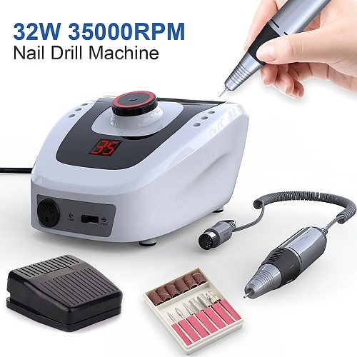 Electric Nail Drill Machine 32W 35000RPM Nail Art Equipment Manicure Machine Accessory Electric Nail File Nail Drill Bit Tool