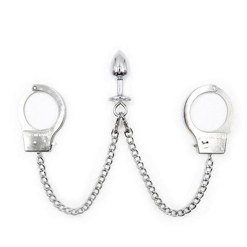 BDSM Women Handcuffs Bondage Restraints Sex Toys For Men Anal Plug Gay Fetish Metal Tail Plug Hand Cuffs Adult Products Slave