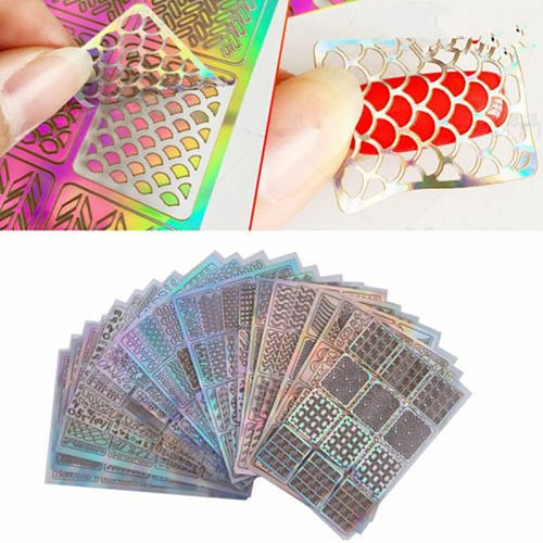 24 Sheet DIY Nail Art Hollow Template Stickers Reusable Stamping Stencil Mold