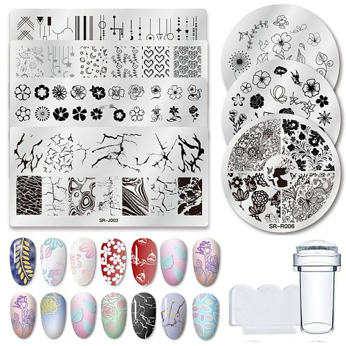 1 Pcs Nail Stamping Plates Marble Texture Flower Nail Art Plate Stainless Steel Design Stamp Template for Printing Stencil Tools