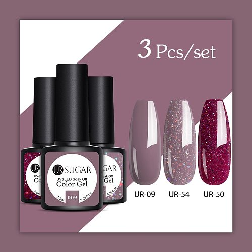 UR SUGAR 2/3 Pcs Glitter Gel Nail Polish Set Pink Sequins Color Semi Permanent Led Gel varnish Soak Off UV Gel Varnish Nails