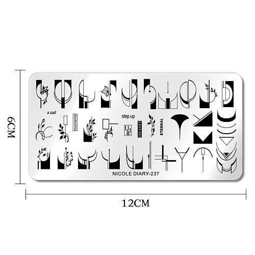 NICOLE DIARY-237 French Line Flower Nail Stamping Plates Geometric Leaf Floral Stainless Steel Nail Art Stamp Stencil