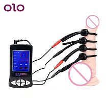 OLO Electric Shock Penis Ring Electro Stimulation Medical Therapy Massager Silicone Cock Ring Sex Toys for Men