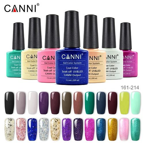CANNI Enamel Gel Nail Polish Color 128-258 New Hot Nail Art Manicure Fast Dry Base Three Steps Soak off UV LED Nail Gel Lacquer