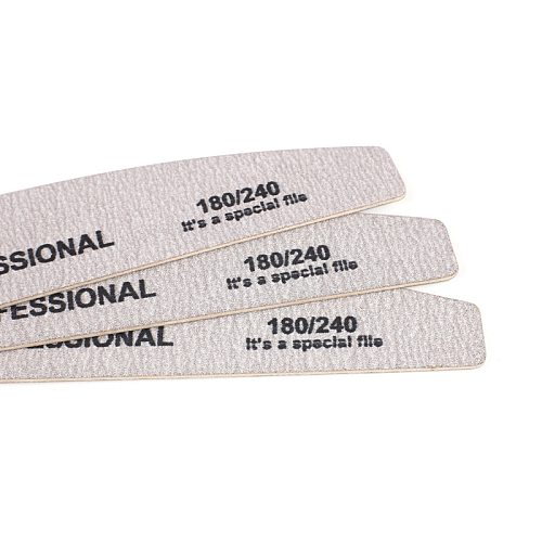 10pcs Wood Sandpaper Nail File 180/240 Professional Emery Board Manicure Buffer Grey Boat Double-sided Wooden Pedicure Buffers