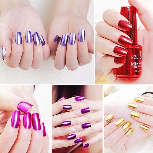 18ml Mirror Effect Metallic Nail Polish Purple Rose Gold Silver Chrome Nail Art Varnish For Nails Manicure Lacquer