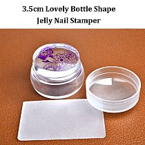 2016 New Lovely Design Matte Nail Art Stamper Scraper with Cap Silicone Jelly 3.5cm Nail Stamp Stamping Tools