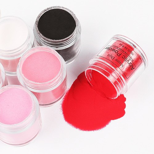 10g Acrylic Powder Set for Nail Crystal Gel Colorful Carved Powder Nail Extensions Manicure Nail Art Decorations