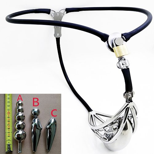 Newest Half Hollow Male Chastity Belt Stainless Steel Adjustable Waist Cock Cage Strapon Pants With Anal Plug/Urethral Catheter.