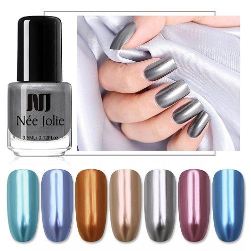 NEE JOLIE 3.5ml  Gold Silver Mirror Metal Cat Eye Nail Polish Glitter Sequins Nail Art Varnish Manicures Design Holographics