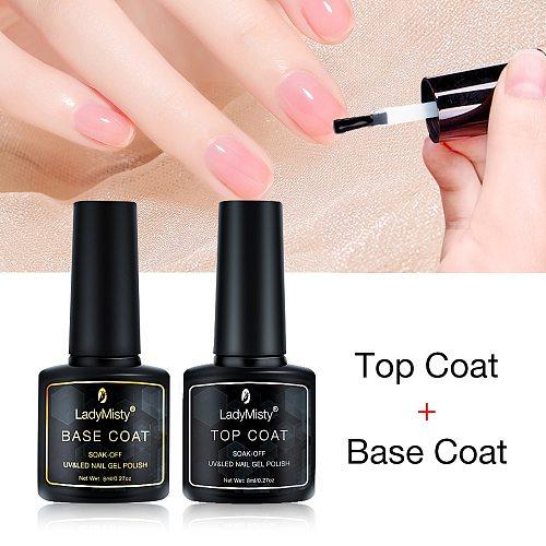 LadyMisty No-wipe Top Base Coat Gel 2pcs/lot UV LED Gel Base Top Coat Nail Gel Polish Soak Off Gel Long Lasting Base Primer