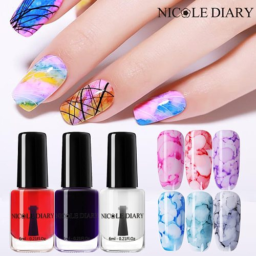 NICOLE DIARY Watercolor Ink Nail Polish Marble Smoke Effect Nail Varnish Sparkly Blossom Gold Silver White Lacquers Decoration