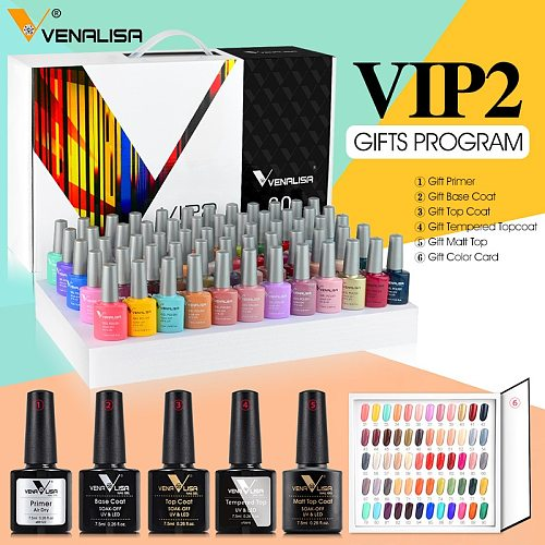 2021 new 60 fashion color Venalisa gel polish enamel vernish color gel polish for nail art design whole set nail gel learner kit
