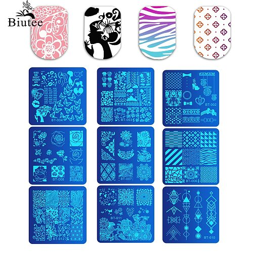 BIUTEE 33 Types Nail Art Stamping Plates Cartoon Lace Flower Tree Design Temperature Nail Stamp Stamping Template Image Stencils