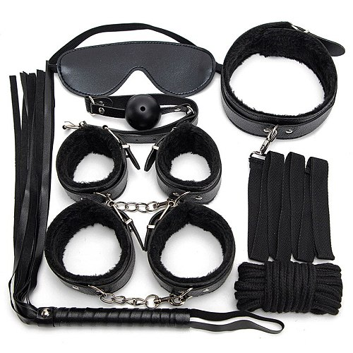 7PCS/Set Pink and Black BDSM Bondage Sex Toys for Couples Exotic Accessories PU Leather Sexy Handcuffs Whip Rope Sex Products