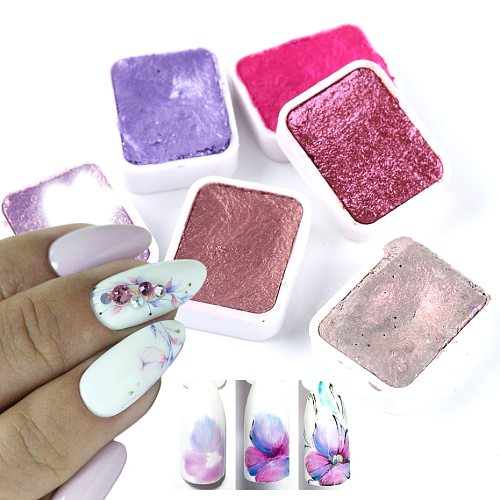 6/12pc Nail Art Pigment Set Painting Flowers Watercolor Paint Charming Mirror Glitter Powder Blooming Shimmer Solid Dust LA1838-