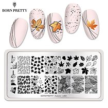 BORN PRETTY Stamping Plate Maple Leaves Autumn Theme Stainless Steel Fall Design Overprint Nail Stamp Stencils L002