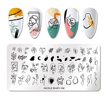 NICOLE DIARY Abstract Face Design Stamp Plates Woman Leaf Flower Nail Art Stamping Template Printing Stencil Image Tool