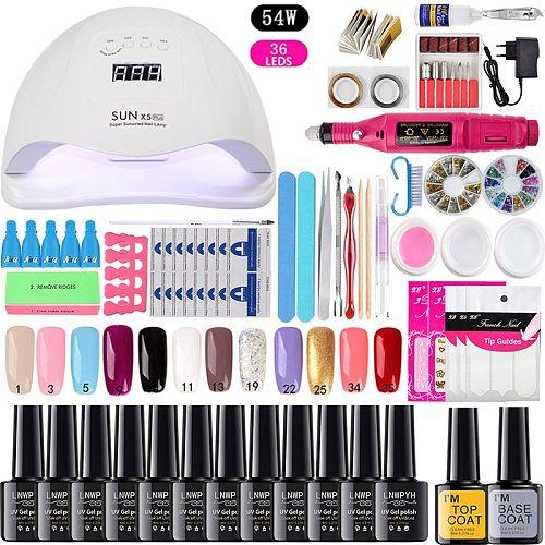 Manicure Set Choose 12/10 Colors Gel Polish Base Top Coat Nail Kit 24w/48w/54w Uv Led Lamp Electric Manicure Handle Nail Art set