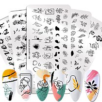 NICOLE DIARY People Image Line Pictures Nail Stamping Plates Marble Image Stamp Templates Geometric  Printing Stencil Tools