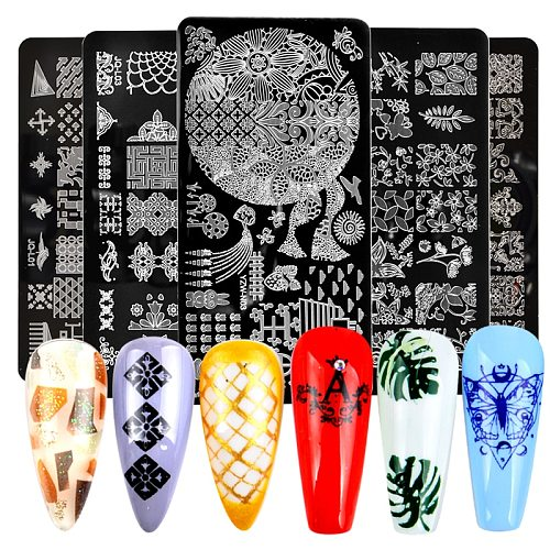 Nail Stamping Plates Set Silicone Sponge Brush Polish Transfer Stencils Flower Geometry DIY Template for Nail Tool