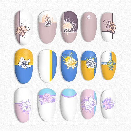 BORN PRETTY Rectangle Nail Stamping Plates Stainless Steel Simple Texture Theme Nail Art DIY Design Stamp Template