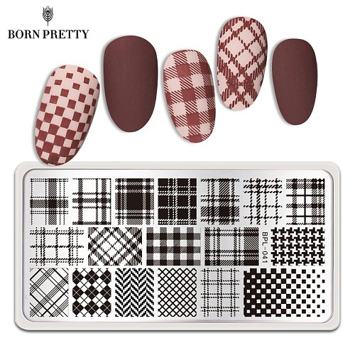 BORN PRETTY Nail Stamp Plates Geometry Checked Design Image Stamping Plates for Manicuring Painting Tools BPL-041