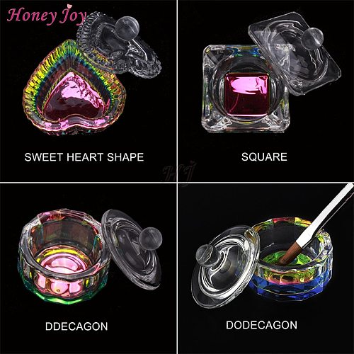 1 pc Rainbow Crystal Clear Acrylic Liquid Dish Dappen Dish Glass Cup with Lid Bowl for Acrylic Powder Monomer Nail Art Tool Kit