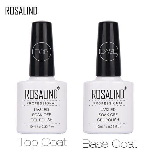 ROSALAND Primer Gel Polish 10ML Top Base Coat Gel Varnish Top Off + Base Coat Foundation For UV Gel Nail Polish For Nail Design