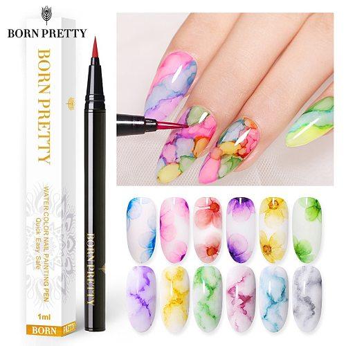 BORN PRETTY 1ml Water Color Ink Nail Painting Pen Blossoming Ink Polish Nail Art Design Beauty Nail Art Design