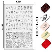 2020 Stainless Steel Stamping Plate Template Alphabet Vintage Ornaments Linear Drawing Animal Skin Pattern Ethnic Russian Text