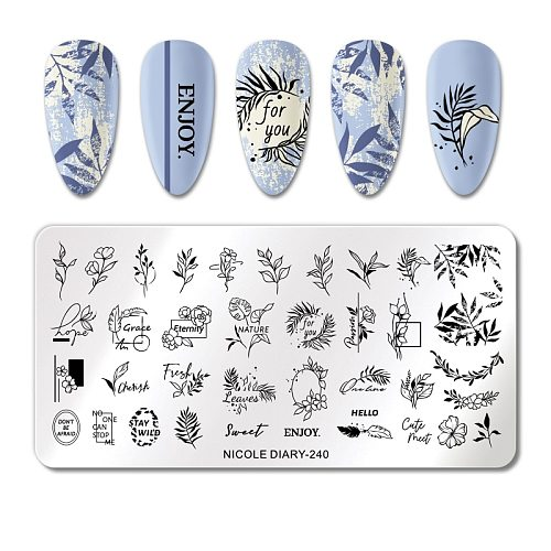NICOLE DIARY Leaves Flower Nail Stamping Plate Abstract Lady Face Nail Stamp Templates Geometric Printing Stencil Tools