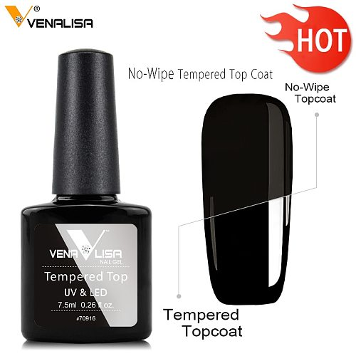 Venalisa Tempered No Wipe Top Coat Base Gel Top Coat Matte Top Nail Gel 7.5ML All Nails Base&Top Gel neon color nail polish gel