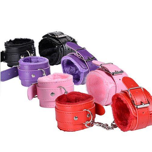 BDSM Sex Toy Adjustable PU Leather Plush Handcuffs Ankle Cuff Restraints Bondage Sex Toy Femdom Sex Bondage Exotic Accessories