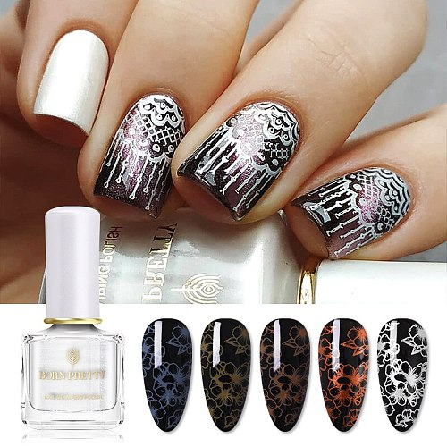 BORN PRETTY 7ml 48 Colors Nail Stamping Polish Nail Art Varnish with Peel Off Nail Latex Black White Colorful Stamp Polish