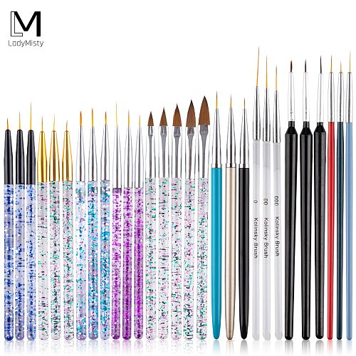 15pcs/set Acrylic Powder Crystal Pen Brush Nail Art Line Painting Pen Set Nail Brush For Manicure Drawing Crystal Liner Brush