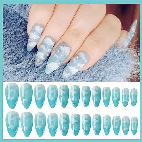 24Pcs/Set Blue Sky White Cloud Pattern Design False Nail French Stiletto Full Cover Fake Nails Glue DIY Manicure Nail Art Tools