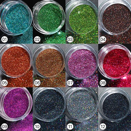 1Box Glitter For Nails Holographics Dip Powder Mirror Polishing Chrome Pigments Silver Nail Art Decorations Laser Dazzling Dust