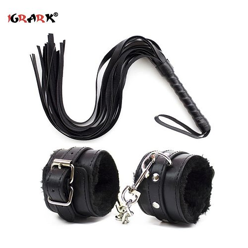 Sexy Adjustable PU Leather Plush Handcuffs Ankle Cuff Restraints BDSM Bondage Sex Toys for Adults Exotic Accessories