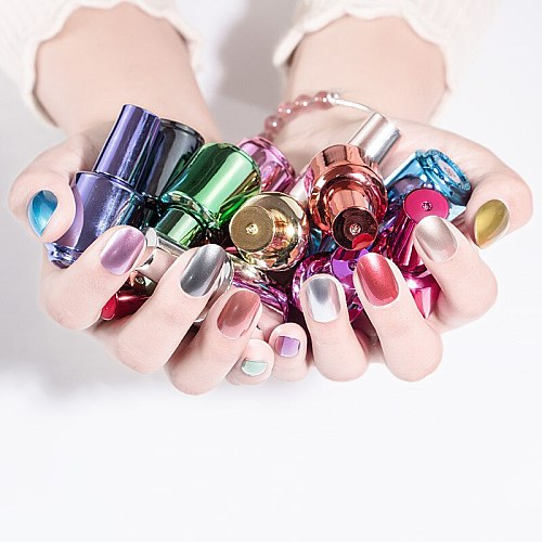 8ml Mirror Effect Metallic Nail Polish 12 colors Purple Rose Gold Silver Chrome Polish Varnish Exquisite For Nails Manicure