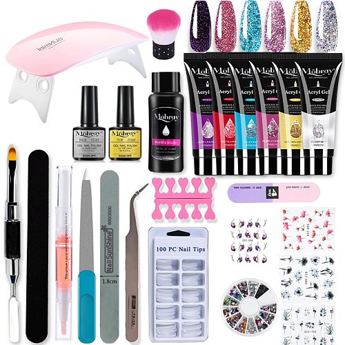 Mobray Poy UV Gel Nail Gel Kit With UVLED Extension Gels Brush False Tips Nail Form Manicure Quick Building For Nails Extensions